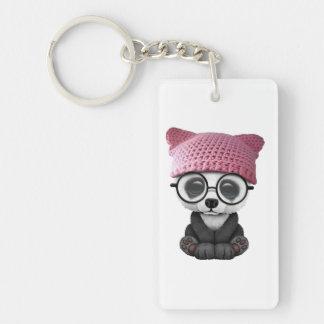 Cute Baby Panda Wearing Pussy Hat Double-Sided Rectangular Acrylic Keychain
