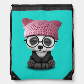 Cute Baby Panda Wearing Pussy Hat Drawstring Bag