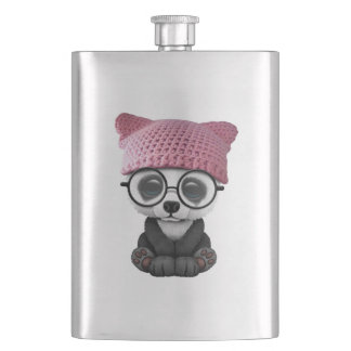 Cute Baby Panda Wearing Pussy Hat Hip Flask