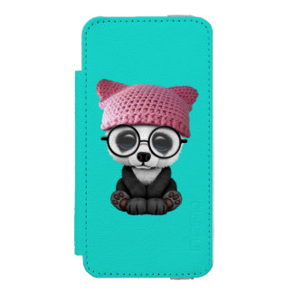 Cute Baby Panda Wearing Pussy Hat Incipio Watson™ iPhone 5 Wallet Case