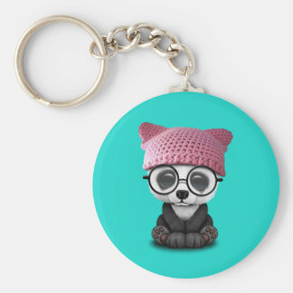 Cute Baby Panda Wearing Pussy Hat Keychain