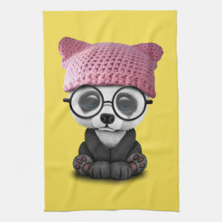 Cute Baby Panda Wearing Pussy Hat Kitchen Towel