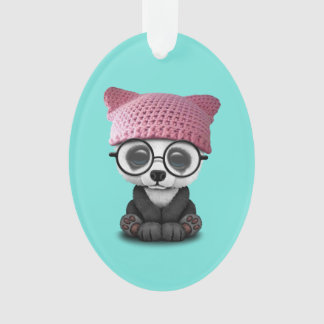 Cute Baby Panda Wearing Pussy Hat Ornament