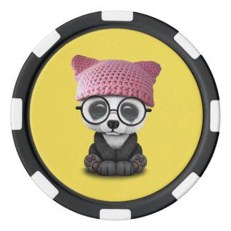 Cute Baby Panda Wearing Pussy Hat Poker Chips
