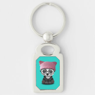 Cute Baby Panda Wearing Pussy Hat Silver-Colored Rectangle Keychain