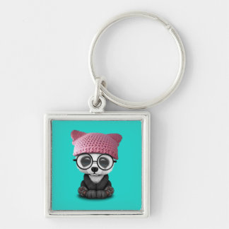 Cute Baby Panda Wearing Pussy Hat Silver-Colored Square Keychain