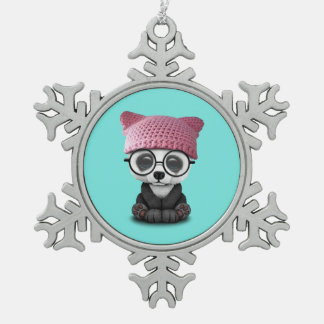 Cute Baby Panda Wearing Pussy Hat Snowflake Pewter Christmas Ornament