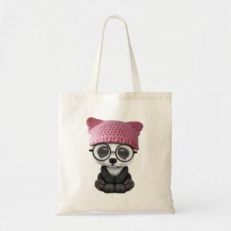 Cute Baby Panda Wearing Pussy Hat Tote Bag