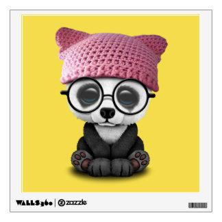 Cute Baby Panda Wearing Pussy Hat Wall Sticker