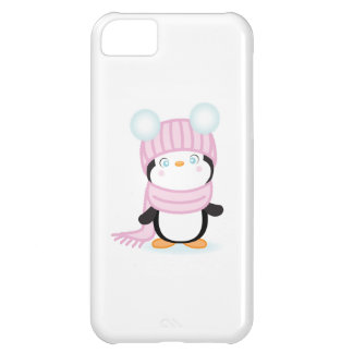 Cute baby peguin in pink hat and scarf. iPhone 5C covers