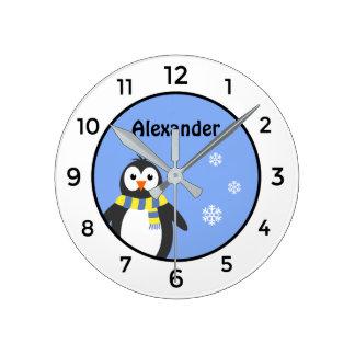Cute baby penguin add name blue white kid's round clock