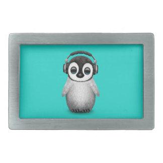 Cute Baby Penguin Dj Wearing Headphones Belt Buckle