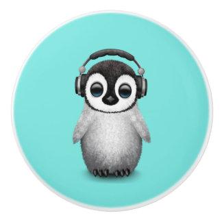 Cute Baby Penguin Dj Wearing Headphones Ceramic Knob