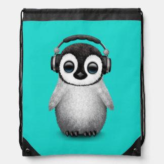 Cute Baby Penguin Dj Wearing Headphones Drawstring Bag