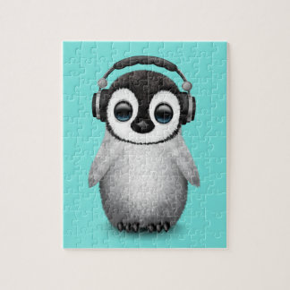 Cute Baby Penguin Dj Wearing Headphones Jigsaw Puzzle