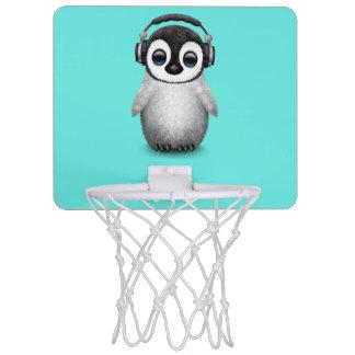 Cute Baby Penguin Dj Wearing Headphones Mini Basketball Hoop