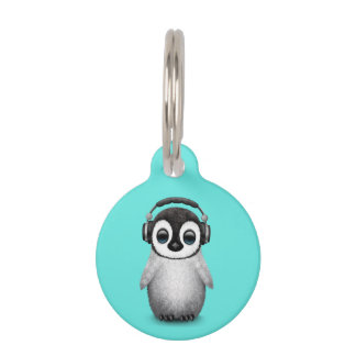 Cute Baby Penguin Dj Wearing Headphones Pet Name Tag