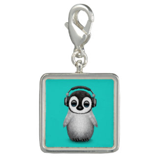 Cute Baby Penguin Dj Wearing Headphones Photo Charm