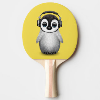 Cute Baby Penguin Dj Wearing Headphones Ping Pong Paddle