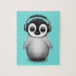 Cute Baby Penguin Dj Wearing Headphones Puzzles