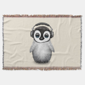 Cute Baby Penguin Dj Wearing Headphones Throw Blanket