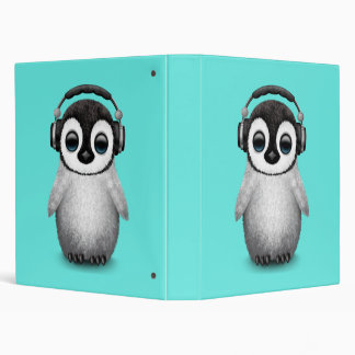 Cute Baby Penguin Dj Wearing Headphones Vinyl Binder