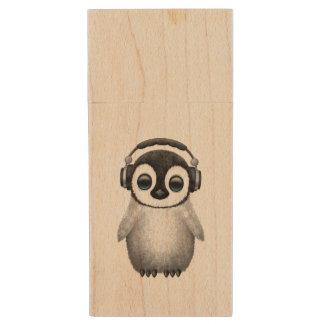 Cute Baby Penguin Dj Wearing Headphones Wood USB Flash Drive