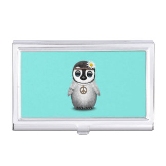 Cute Baby Penguin Hippie Business Card Holder