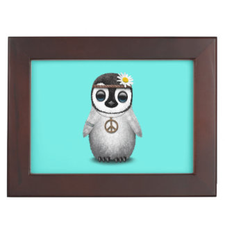 Cute Baby Penguin Hippie Keepsake Box