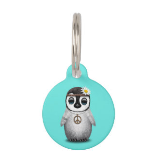 Cute Baby Penguin Hippie Pet Name Tag