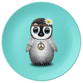 Cute Baby Penguin Hippie Plate