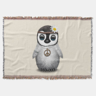 Cute Baby Penguin Hippie Throw Blanket