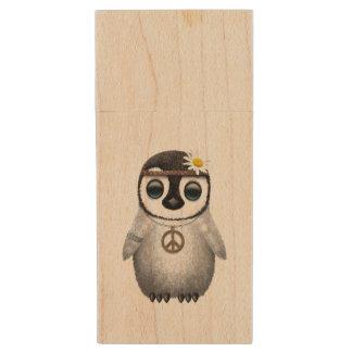 Cute Baby Penguin Hippie Wood USB Flash Drive