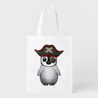 Cute Baby Penguin Pirate Reusable Grocery Bag