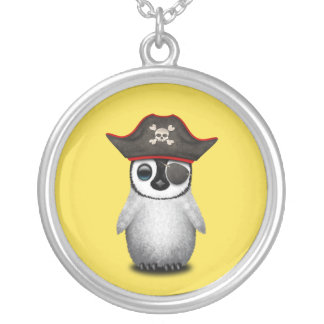 Cute Baby Penguin Pirate Silver Plated Necklace