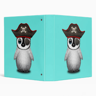 Cute Baby Penguin Pirate Vinyl Binder