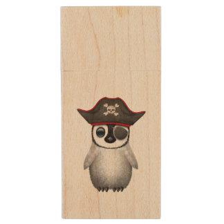 Cute Baby Penguin Pirate Wood USB Flash Drive