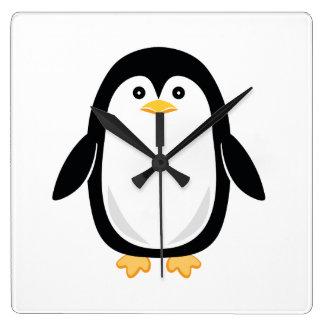 Cute Baby Penguin Square Wall Clock