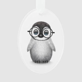 Cute Baby Penguin Wearing Eye Glasses on White Ornament