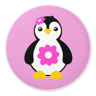 Cute Baby Penguin with Pink Flowers Ceramic Knob