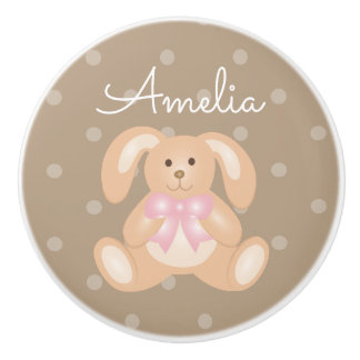 Cute Baby Pink Bunny Rabbit Sweet Girls Nursery Ceramic Knob