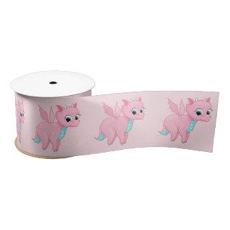 Cute Baby Pink Dragon Satin Ribbon