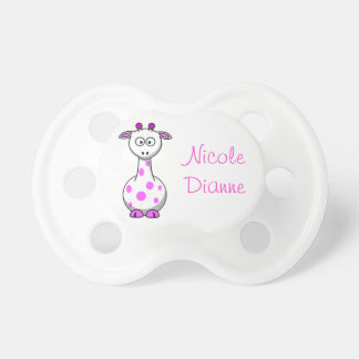 Cute Baby Pink Giraffe, Girl's Custom Name Pacifier