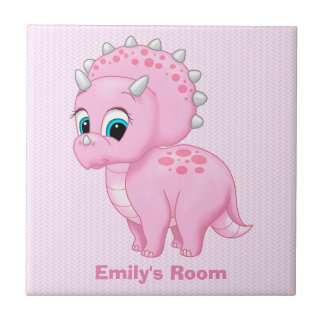 Cute Baby Pink Triceratops Dinosaur Tiles