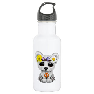 Cute Baby Polar Bear Cub Hippie 532 Ml Water Bottle
