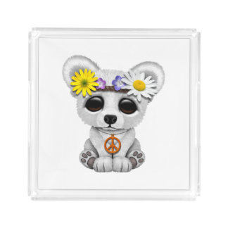 Cute Baby Polar Bear Cub Hippie Acrylic Tray