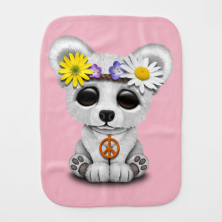 Cute Baby Polar Bear Cub Hippie Burp Cloth