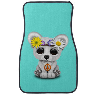 Cute Baby Polar Bear Cub Hippie Car Mat