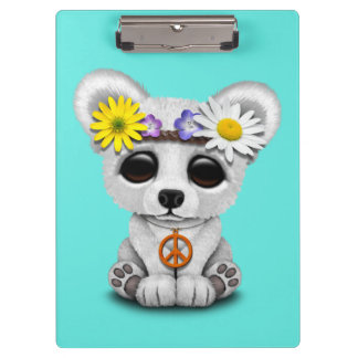 Cute Baby Polar Bear Cub Hippie Clipboard