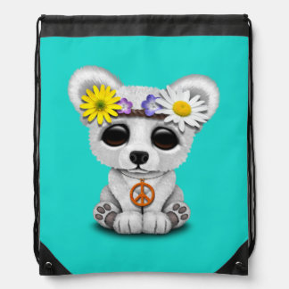 Cute Baby Polar Bear Cub Hippie Drawstring Bag